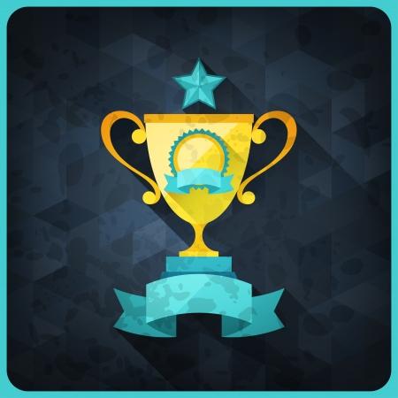 trofeo: Grunge fondo con los trofeos y premios. Vectores