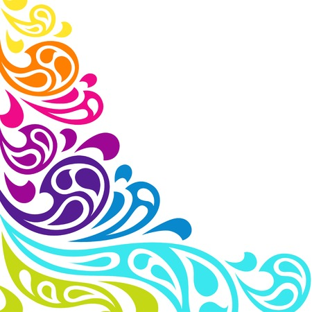 swirl border: Color splash waves abstract background.