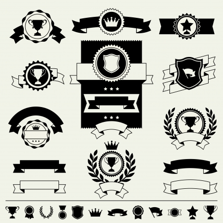 Trophies, awards banners, ribbons and labels. Vector