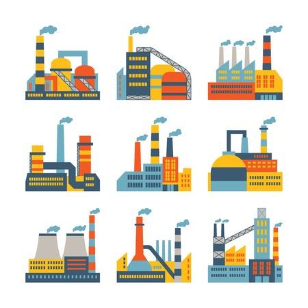 Budynki fabryczne ustawienie ikon w płaskiej przemysłowe stylu projektowania. Ilustracje wektorowe