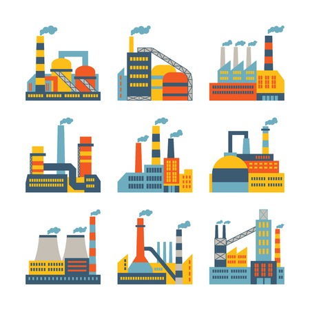 plant: Industrial factory buildings icons set in flat design style. Illustration