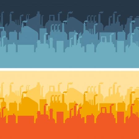 Industrial factory buildings horizontal banners. Stock Vector - 22726544