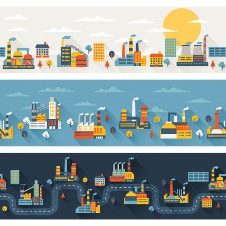 industrie: Industrielle Fabrikgebäude horizontale Banner.