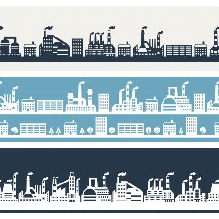 Industrial factory buildings horizontal banners. Stock Vector - 22726667