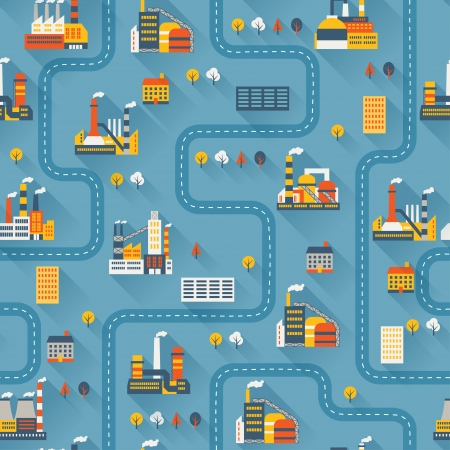 Industrial factory buildings seamless pattern. Stock Vector - 22726666