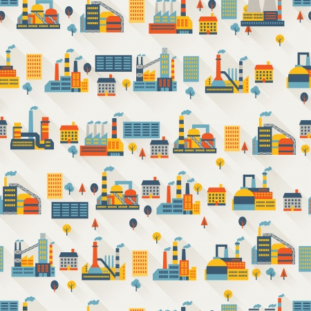 Industrial factory buildings seamless pattern. Vector