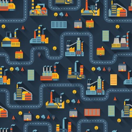 Industriële fabrieksgebouwen naadloze patroon. Stock Illustratie