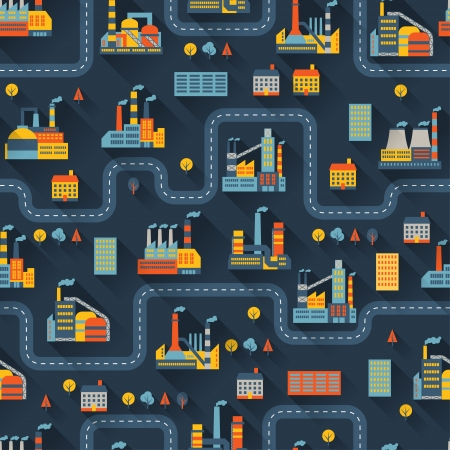 industrial industry: Industrial factory buildings seamless pattern.