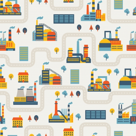 Industrial factory buildings seamless pattern. Stock Vector - 22726673