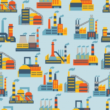 Industrial factory buildings seamless pattern. Stock Vector - 22726672