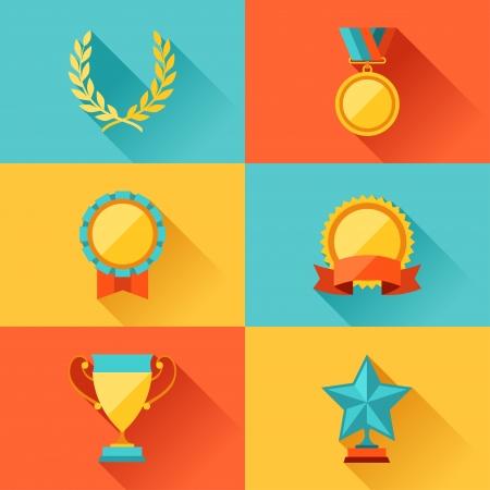 trofeo: Trofeo y premio en el estilo de diseño plano. Vectores
