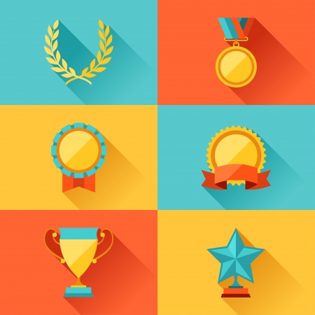 Trophy and awards in flat design style. Vector