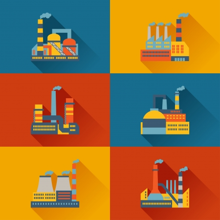 Industrial factory buildings in flat design style. Vector