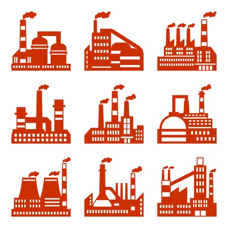 Industrial factory buildings icons set in flat design style. Illustration