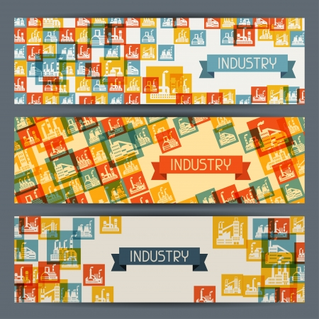 Industrial factory buildings horizontal banners. Vector