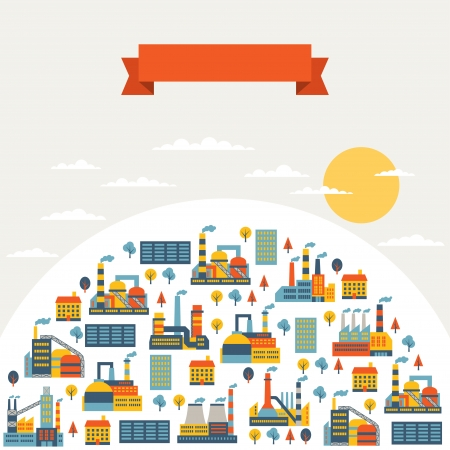 Industrial factory buildings background. Stock Vector - 22895923