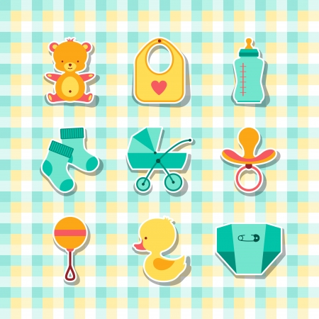 Neugeborenes Baby-Sachen Icons Aufkleber.