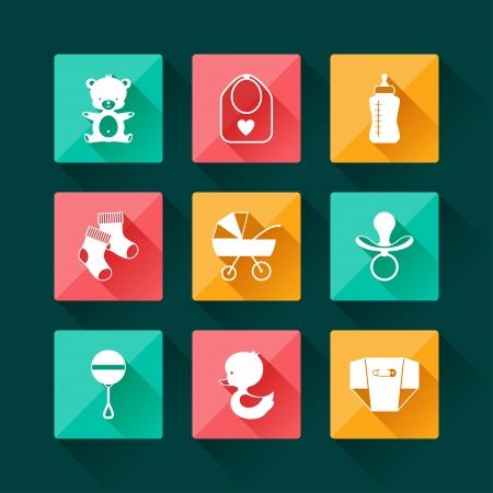 teteros: Iconos del beb� reci�n nacido conjunto de estilo de dise�o plano. Vectores