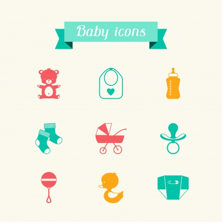 Newborn baby icons set in flat design style. Stock Vector - 22895928