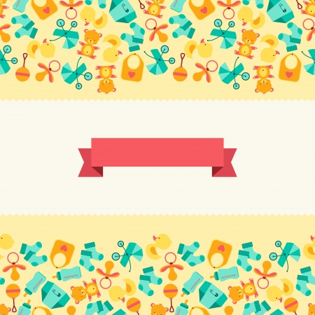 Seamless pattern with newborn baby icons. Vector