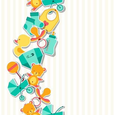 babero: Patrón sin fisuras con las etiquetas engomadas del bebé recién nacido. Vectores