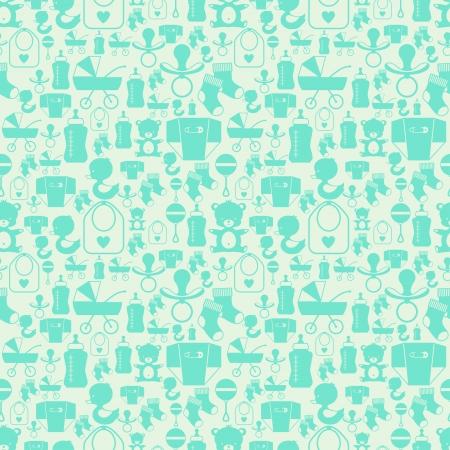 babero: Patrón sin fisuras con iconos de bebé recién nacido. Vectores