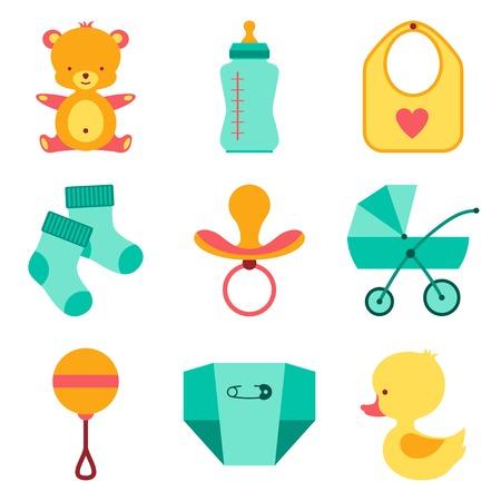 Newborn baby stuff icons set. Stock Vector - 22895938