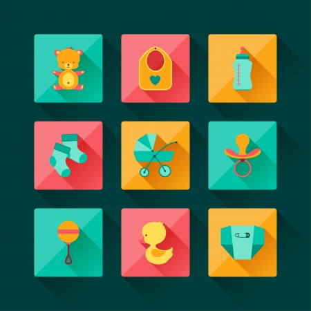 diaper pins: Newborn baby icons set in flat design style.