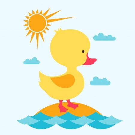 Petit bébé canard mignon en mer. Vecteurs