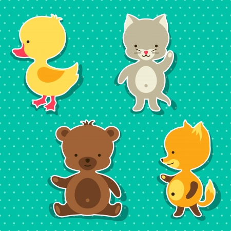 Little cute baby cat, bear, fox and duck stickers. Vector