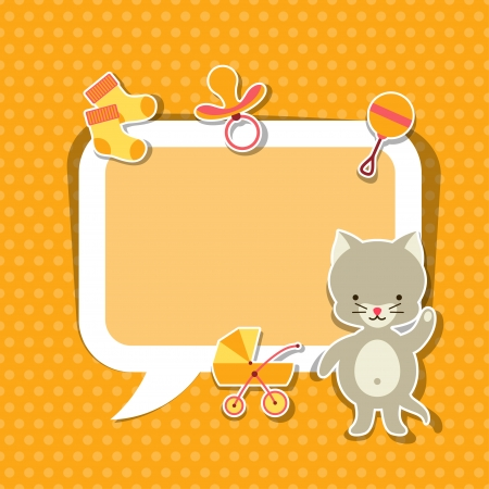 Background photo frame with little cute baby cat. Vector