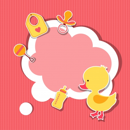 Background photo frame with little cute baby duck. Vector