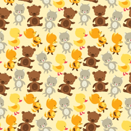 Seamless pattern with baby cat, bear, fox and duck. Vector