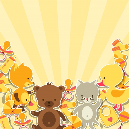 Background invitation card with little animal stickers. Vector