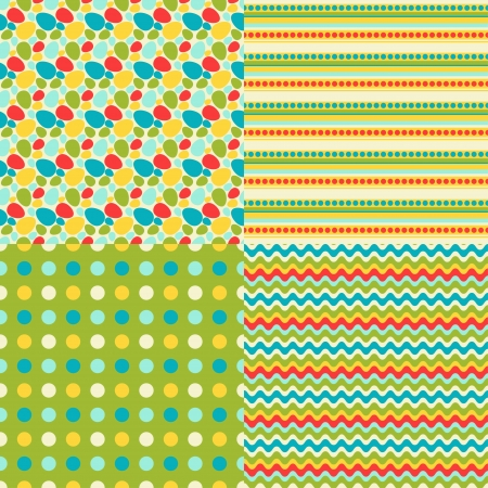 Happy Easter set of seamless patterns. Vector