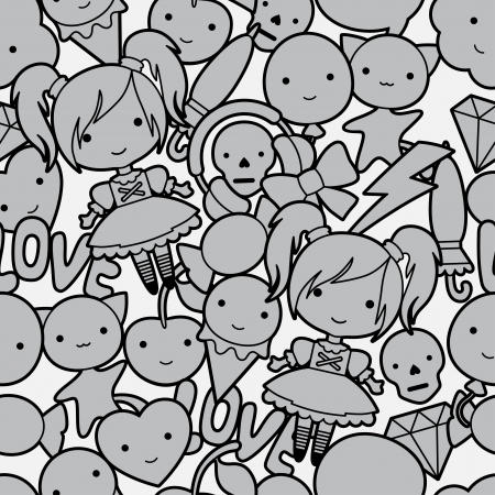 Seamless kawaii child pattern with cute doodles. Vector