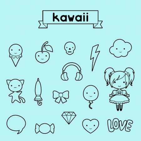 Set of decorative design elements kawaii doodles. Vector