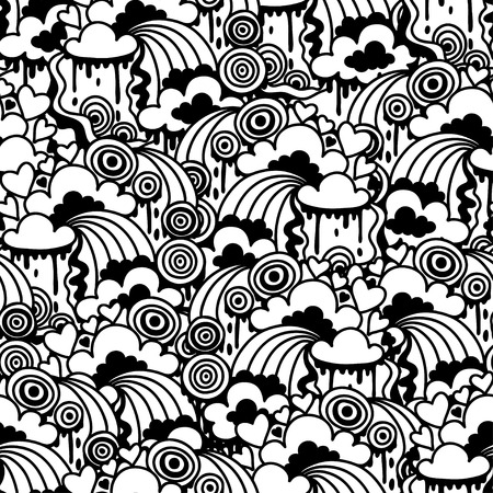 Seamless pattern with abstract doodles. Vector