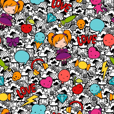 maneki neko: Seamless kawaii child pattern with cute doodles.