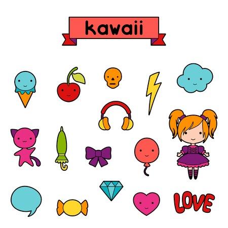 maneki neko: Set of decorative design elements kawaii doodles.
