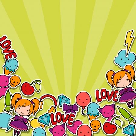 maneki neko: Abstract background with cute kawaii doodles. Illustration