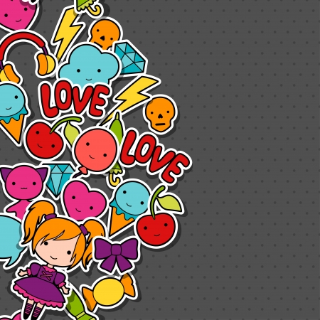 Abstract background with cute kawaii doodles. Vector