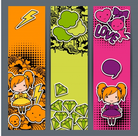Vertical banners with sticker kawaii doodles. Vector