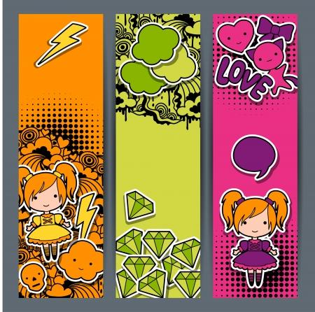 maneki neko: Vertical banners with sticker kawaii doodles.