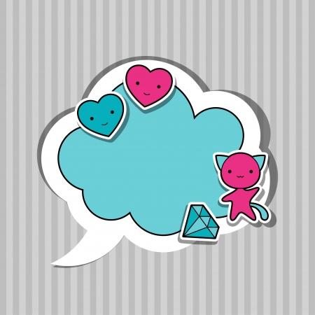 maneki neko: Speech bubble with sticker kawaii doodles.