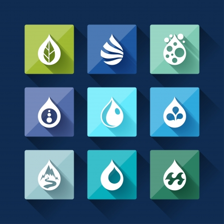 Water drop icons in flat design style. Stock Vector - 23815568