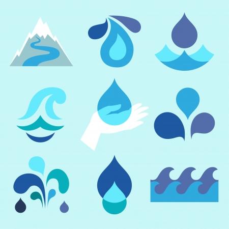 agua: Iconos gota de agua y elementos de diseño.