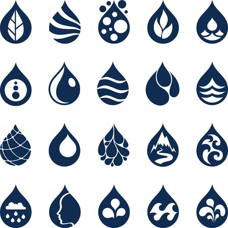 water drops: Water drop icons and design elements.
