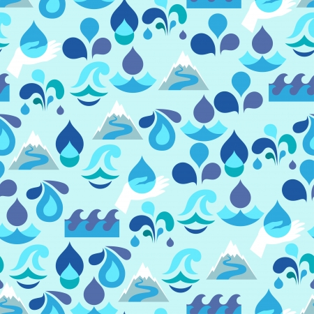 drinking water sign: Seamless pattern with water icons in flat design style. Illustration
