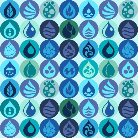 Seamless pattern with water icons in flat design style. Vector